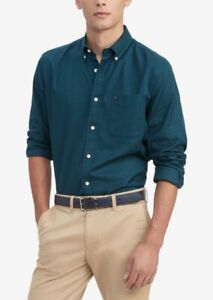 Tommy Hilfiger Men's Syd Classic Fit Mini Tartan Shirt Green Size L