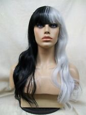 Half Black & Gray Wig w Bangs Cruella DeVil Vampire Split Personality Heat Style