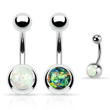 2 Pc White Dark Green Opal Set Belly Button Rings Navel Piercing Body Jewelry