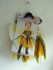 Halloween Baby Bee Infant Costume Yellow Dress Glittery Wings Size up to 24 mo