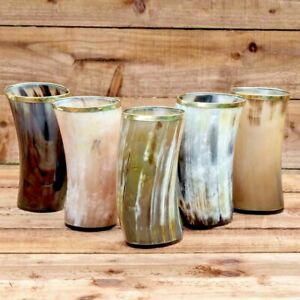 Set of 5 Nordic ale beer mead viking drinking horn cups mugs for groomsman gift