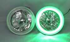 "97-18 Jeep Wrangler TJ JK 7"" GREEN LED SMD Halo Round Chrome Clear Headlights"