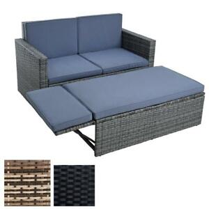 Polyrattan Lounge Essgruppe Gartensofa Sitzgruppe Liege Sofa-Set Rattan-Couch