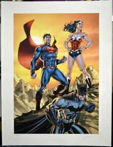 Jim Lee SIGNED Wonder Woman Superman Batman DC GICLEE on Paper Ltd Ed #118/150