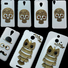 Back Hard Case For HTC, Retro Skull Punk Rivet Owl Branch Mustache Design Cover