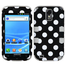 For Samsung Galaxy S II 2 T989 IMPACT TUFF HYBRID Case Cover Black Dots Grey