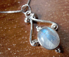 Rainbow Moonstone Pendant Exquisitely Accented 925 Sterling Silver Oval d38k
