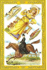 1 Bogen Glanzbilder Frau mit Pferd Tiere Nr.607