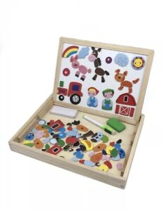 Wooden Magnetic White and Black Board Farm Yard Animals Drawing Puzzle Toy
