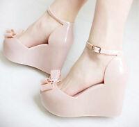 Sweet Women's Jelly sandals open toe platform summer bowknot wedge sandals shoes
