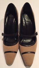 Coach Shoes Pumps Heels Size 6.5 Black/Beige Mary Janes GUC