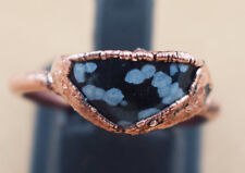 Attractive 1 Pc Natural Black Obsidian Gemstone Stackable Copper Statement Ring