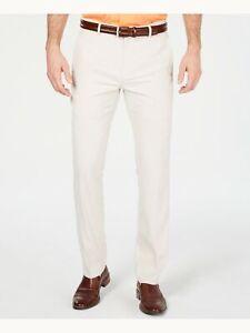 ALFANI Mens Beige Flat Front Classic Fit Stretch Pants 36W/ 32L
