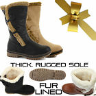 WOMENS LADIES FLAT FUR LINED MID CALF WINTER WARM THERMAL SNOW BOOTS SHOES SIZE