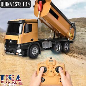 1573 1:14 RC Truck 2.4GHz 10-CH Remote Control Dump Truck Model Toy