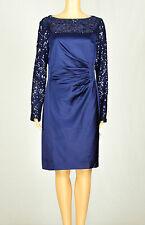 Lauren Ralph Lauren Womens Navy-Blue Sheath Sequin Dress 12