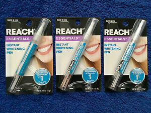 Lot 3 Reach Essentials Instant Tooth Teeth Whitening Pen Gel Stain Bleaching NEW