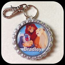Personalized LION KING ID Bottle Cap Pendant Name Zipper Pull Backpack Tag Clip
