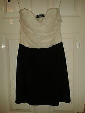 Womens Strapless Sleeveless Dress - Te Amo - Cream & Black - Size 12