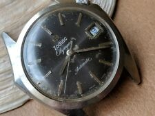 Vintage Zodiac Olympos Watch w/Aged Blue Dial,Divers All SS Case,Runs Strong