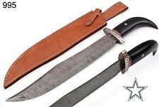"""21""""HAND MADE DAMASCUS STEEL HUNTING  KNIFE & HORN W/DAMASCUS GUARD HANDLE 995"""