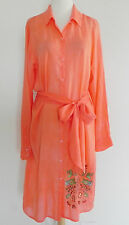 Johnny Was Shirt Dress Long Sleeve Rayon Crinkle Coral Embroidery Belted Size M