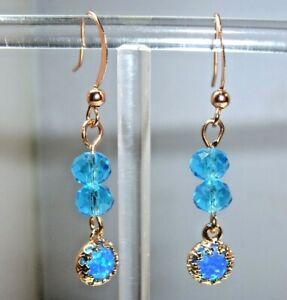 BLUE/AQUA/GREEN FIRE OPAL & CRYSTAL ROSE GOLD PLATED EARRINGS