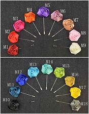 "18PCS Men's Solid Color Lapel Pin 1.4"" Rose Boutonniere Brooch Pin"