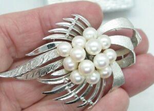 Vintage Signed Silver Pearl Flower Wedding Pin Brooch
