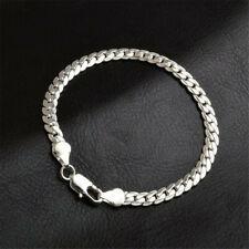 925 Sterling Solid Silver Chain Bangele Bracelets For Men/Women Jewelry 5MM