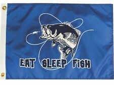 """EAT SLEEP FISH Lure 12""""x18"""" Two Sided Flag Outdoor Polyester 200Denier USA"""