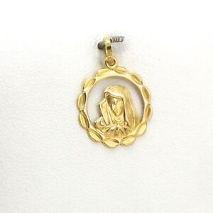 18k Gold 750 Italy Scalloped Mother Of Sorrow Madonna Mary Charm Pendant New
