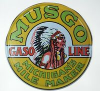 "MUSGO Michigan Mile Maker Motor Oil Gasoline Retro Metal Tin Sign Plaque 12"" NEW"