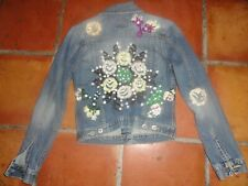 LUCKY BRAND RARE BOHO EMBROIDERED FLORAL TRUCKER DENIM JEAN JACKET SIZE MEDIUM