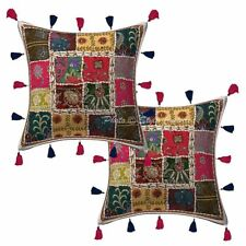Ethnic Cotton Patchwork Kodi Tassels Pillow Covers Indian Cushion Cover 16""