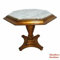 Vintage French Regency Gold Gilt Marble Top Pedestal Lamp End Table Custom A