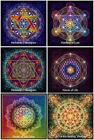 6x Blume des Lebens Metatrons Cube Sri Yantra Mandala Hexagram Lotus Sticker
