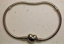 "Pandora ALE 925 Sterling Silver Heart Clasp Charm Bracelet 7 7/8"" 590719-21"