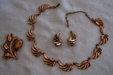Vintage Renoir copper necklace, earrings & brooch demi parure, BEAUTIFUL!