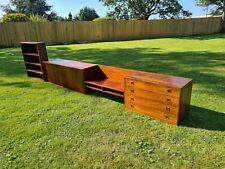 More details for vintage mid century danish rosewood floating sideboard bookcase desk & drawers