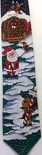 Hallmark Yule Tie Greetings Santa Golfing Tie Golf Reindeer Elf Snow Christmas