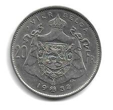 Belgique 1932 - 20 francs = 4 (Vier) belga - Albert I - Nickel - NDL - TTB (E11)