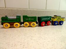 Orbrium Wooden Train Engine, Tender, Cars Lot of 4 Brio Compatible Wood Toys