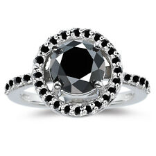 925 Sterling Silver Engagement Ring 3+Ct Black Color Moissanite Diamond