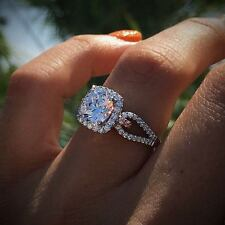 1.28Ct Round Moissanite Diamond Halo Engagement Ring Set 925 Sterling Silver