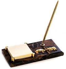 DESK ACCESSORIES -  WALL STREET PEN STAND & POST IT HOLDER - BULL AND BEAR
