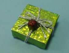 Dollhouse Miniature Handcrafted Christmas Holiday Gift Package Green w Bell 1:12