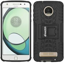 Amzer Rugged double couche hybride guerrier case cover support pour Moto Z Play-noir