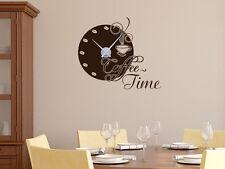 Wandtattoo Uhr mit Uhrwerk Wanduhr für Küche Spruch Coffee Time Kaffeebohnen