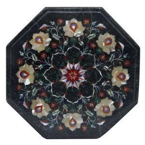 "12"" green Marble Coffee Corner Table Top Pietra Dura Handmade Work"